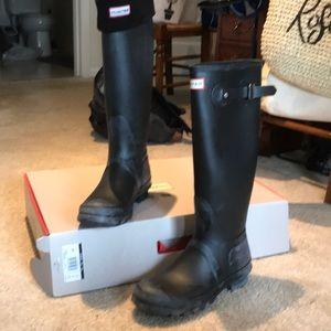 Black hunter tall rain boots with rain boot socks